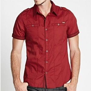 Guess Brennan Red Button Down Shirt